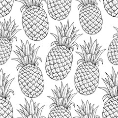 FototapetaBlack and White Seamless Pattern of Pineapple Illustration With Line Art Style