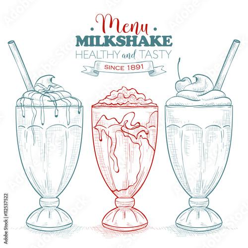 Fotografie, Obraz Scetch milkshake menu