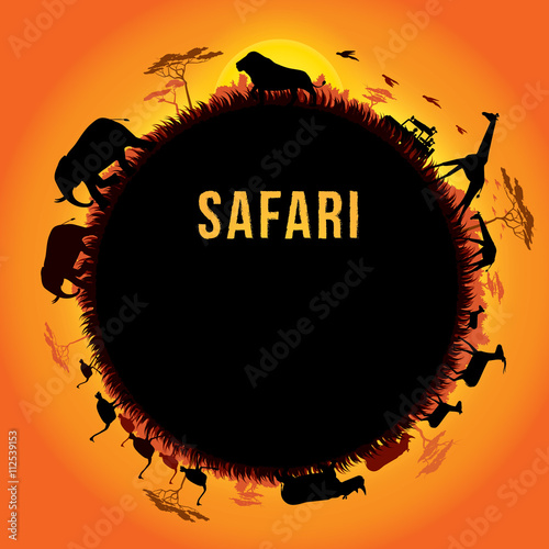 Vector illustration of Africa landscape with wildlife and sunset background Poster