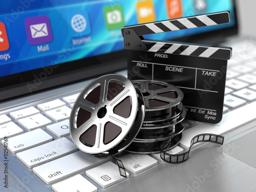 Laptop, Film and Clapper board - video icon. 3d rendering