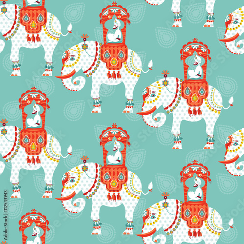 Hibou Decorated indian elephant with maharaja on a back. Seamless background pattern.