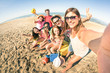 canvas print picture - Group of multiracial happy friends taking selfie and having fun at beach - Friendship concept with summer sports equipment