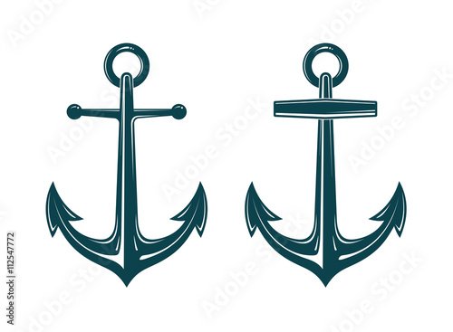 Canvas Print Vector image of anchor