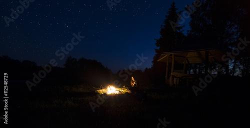 Fototapeta Summer night camping fire obraz na płótnie