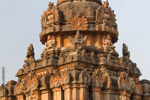 Sacred monuments in holy Hampi city. Stone temples of the royal dynasty