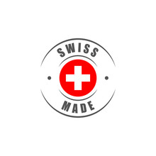 "Round ""Swiss Made"" Label With Swiss Flag"