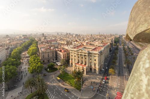 Cityscape including la rambla in Barcelona, Spain Canvas Print