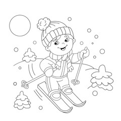Coloring Page Outline Of cartoon boy riding on skis.