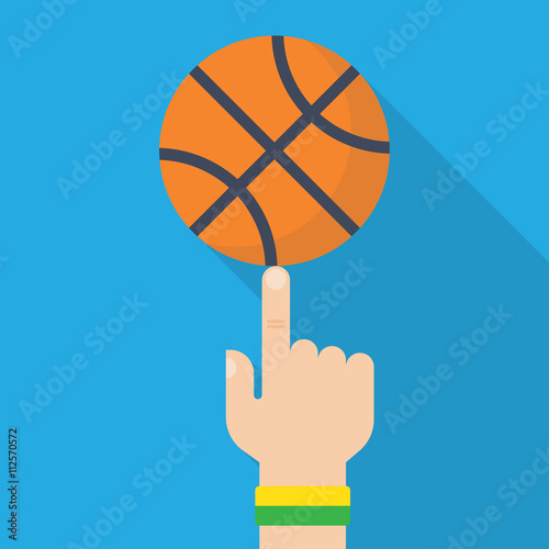 Foto  Basketball Ball On The Finger Vector Drawing