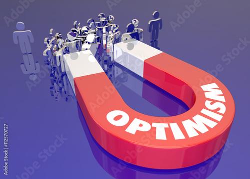 Fotografia  Optimism Magnet Attracting People Word 3d Illustration
