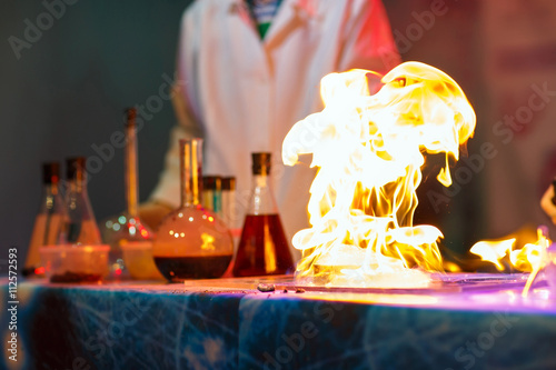 Experiments in a chemistry lab. The explosion in the laboratory.