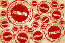 Parking, Red Stamp On A Grunge...
