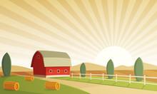 Red Farm Barn At Sunset, Countryside Landscape, Cartoon Vector Illustration.