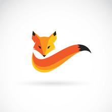 Vector Of A Fox Design On Whit...