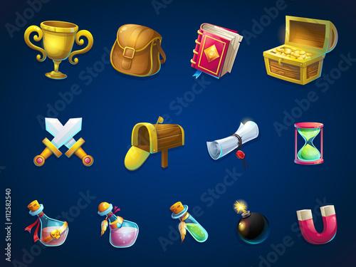 Fotografía  Set items for game user interface Atlantis ruins