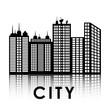 City design. Building icon. Black and white illustration , vector