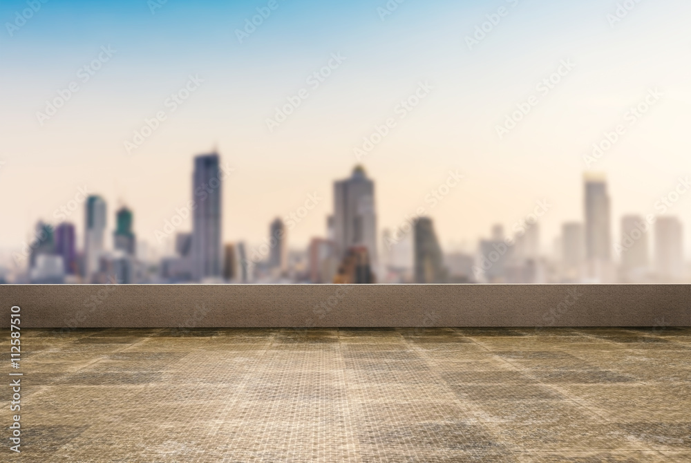 Fototapety, obrazy: roof top balcony with cityscape background