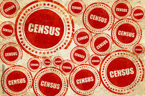 Valokuva  census, red stamp on a grunge paper texture