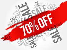 70% OFF Sale Words Cloud, Business Concept Background