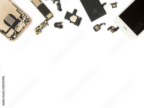 Fotografía  Flat Lay (Top view) of smart phone components isolate on white background with c