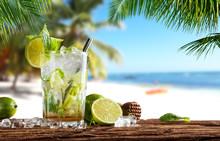Summer Drink On Beach