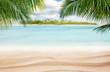 Leinwanddruck Bild - Sandy tropical beach with island on background