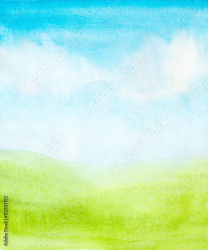 watercolor abstract sky, clouds and green grass background
