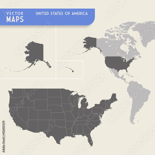 USA Vector hi quality map Wallpaper Mural