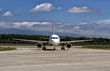 Commercial plane taxiing