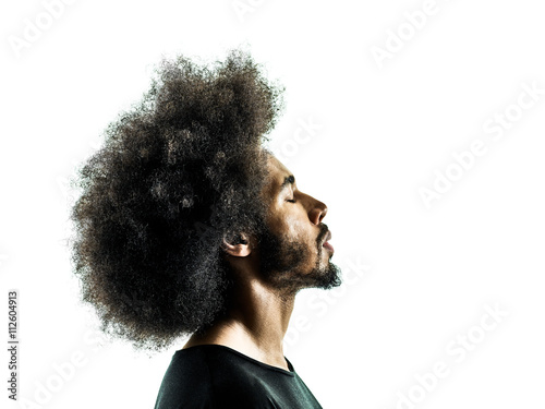 african man portrait silhouette isolated profile Canvas-taulu
