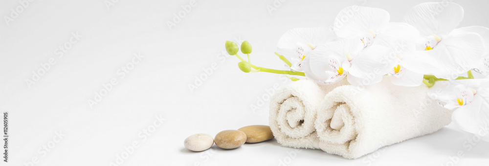 Fototapety, obrazy: Spa orchid with soft towels and massage stones setting