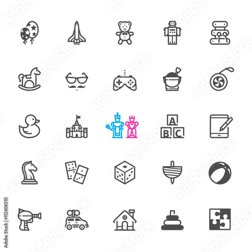 Photo  Toy icons with White Background