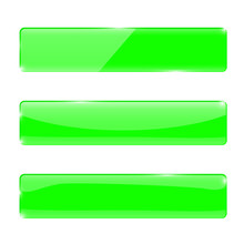 Green Glass Buttons. Lime Rectangular Web Icons