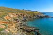 Rocky beach in Mykonos, Cyclades, Greece.