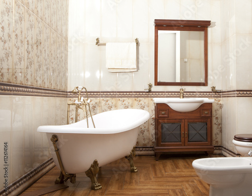 Fototapeta Stylish  bathroom in luxury modern house obraz na płótnie