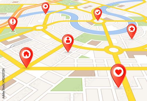 Plakat Vector Perspektywy mapa miasta ze znacznikami