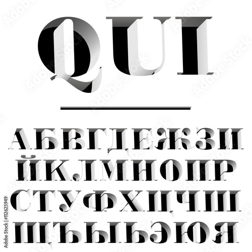 Fotografie, Obraz  Typeface with cyrillic symbols / modern font / abc and numbers