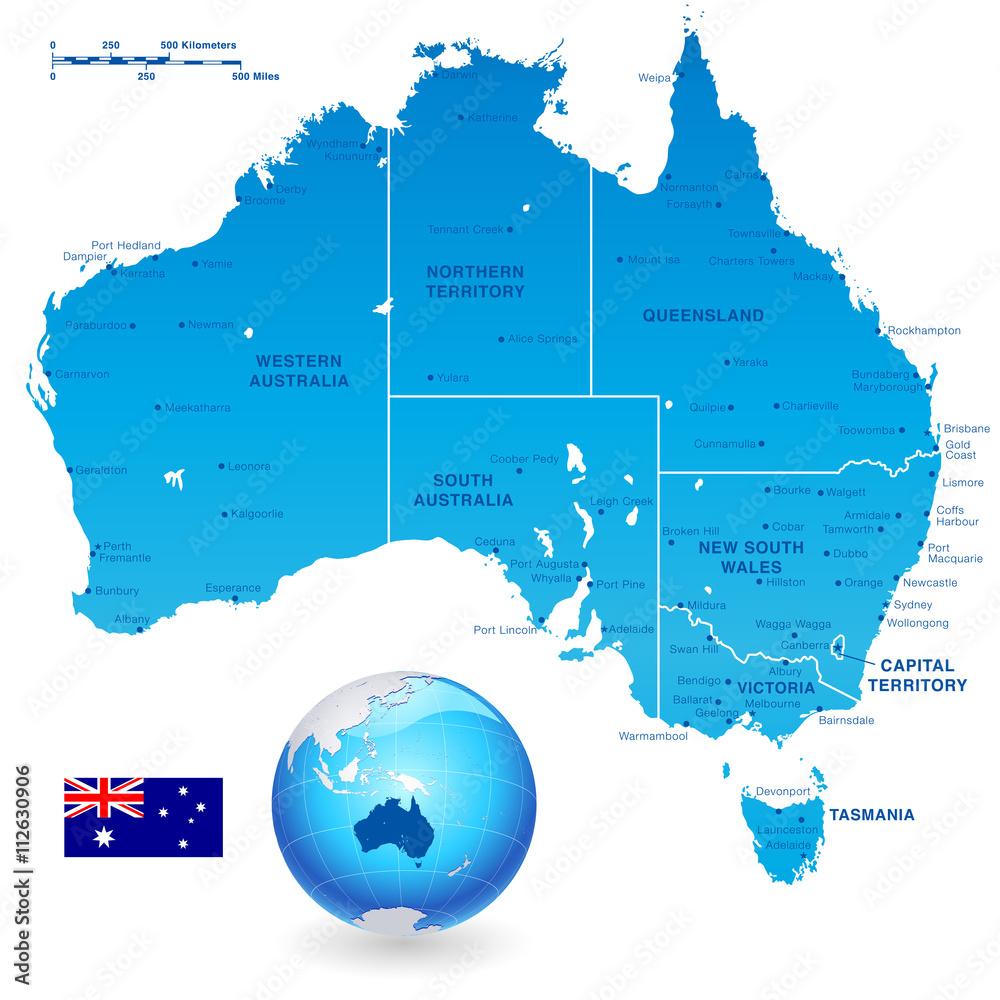 Fotografía Australia Administrative Map Set | Europosters.es