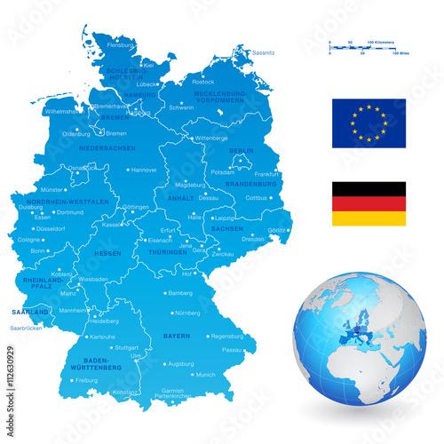 Obraz na plátně vector Map of Germany