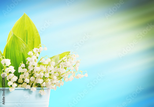 Poster Muguet de mai Beautiful flower composition with lilies of the valley in the corner