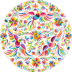 Fototapeta Folklor Mexican embroidery round pattern. Colorful and ornate ethnic pattern. Birds and flowers light background. Floral background with bright ethnic ornament.