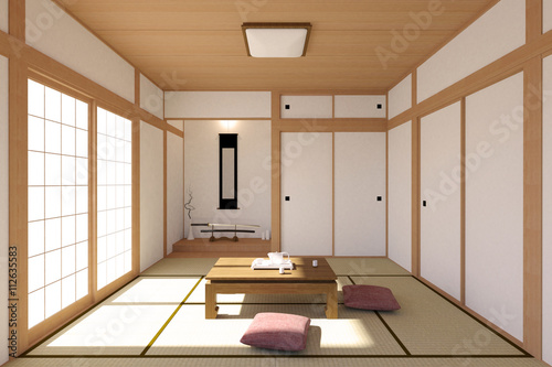 Japanese living room interior in traditional and minimal design with ...