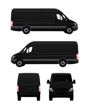 Black Cargo Van From Four View...