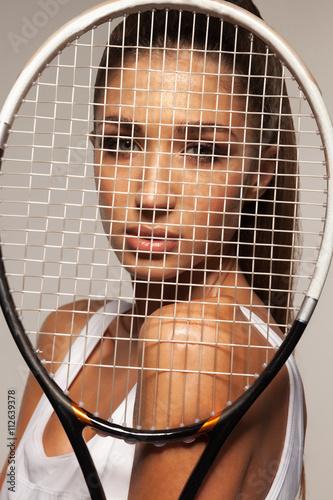 Portrait de la belle remise en forme femme sexy, joueur de tennis avec raquettes Tableau sur Toile