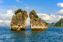 """Rock Of """"The Kissing Cocks""""  In Ha Long Bay, Vietnam. It's Symbol Of Ha Long Bay And Ha Long Bay Is World Heritage Nature By Unesco."""