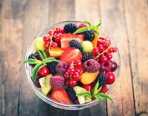 Poster Fruit Fresh fruit salad in the bowl
