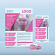 Pink modern annual report with the pattern brochure flyer and business card design template. Report with infographics. Vector flyer cover presentation abstract background flat, A4 layout, 1/3 A4, card