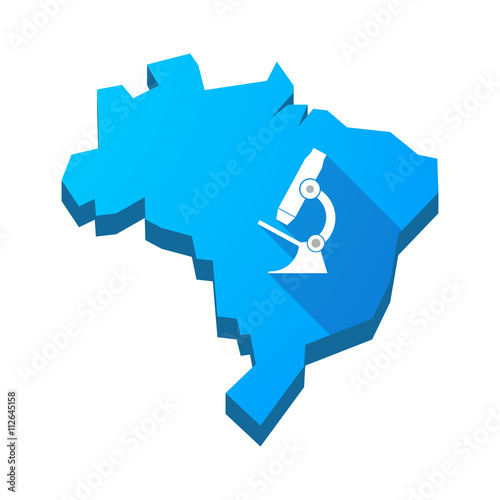 Illustration of an isolated Brazil map with  a microscope icon