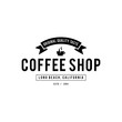 Coffee Shop Logo, Cup, beans, vintage style objects retro vector illustration.
