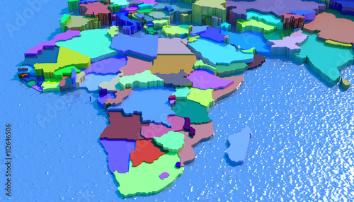 Mappa 3D Africa con nazioni in rilievo e colorate